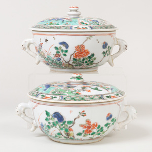 Pair of Chinese Export Famille Verte Porcelain Two Handled Ecuelles and Covers