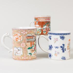 Three Chinese Export Porcelain Mugs