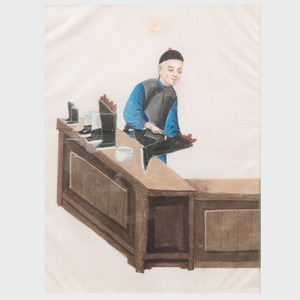 Ten Chinese Export Paintings on Pith Paper Depicting Trades