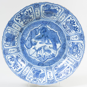 Chinese Blue and White Porcelain Charger Decorated with Deer
