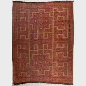 Mauritanian Woven Reed and Leather Carpet, Tuareg