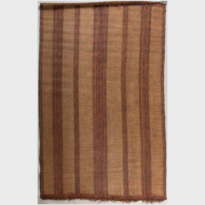 North African Woven Reed and Leather Carpet, Tuareg
