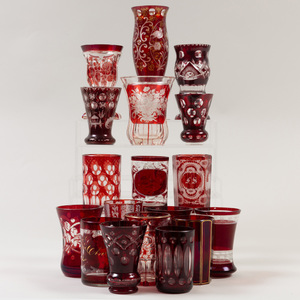 Group of Eighteen Bohemian Cut, Etched and Cased Glasses