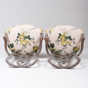 Pair of Italian Rococo Painted Armchairs, Probably Venetian