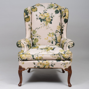 George III Style Linen Chintz Upholstered Wing Chair