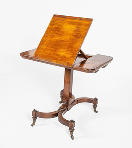Regency Inlaid Rosewood and Mahogany Retractable Reading Table