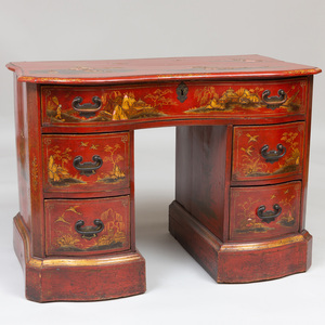 George II Style Scarlet, Black, and Gilt Japanned Kneehole Desk, 19th Century