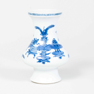 Chinese Blue and White Porcelain Vase Decorated with Scholar's Objects
