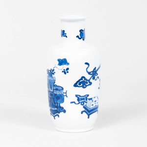 Chinese Blue and White Porcelain Baluster Vase Decorated with Scholar's Objects