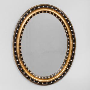 Regency Style Glass Studded Ebonized and Giltwood Mirror