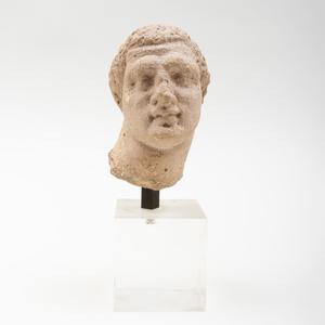 Greek Limestone Male Head, Possibly Herakles