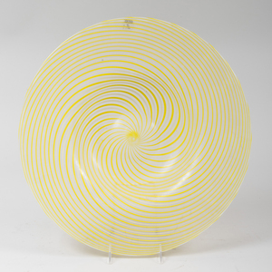 Large Venini Murano Spiral Decorated Glass Charger