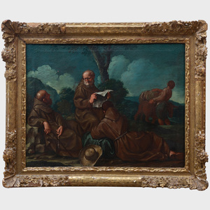 Giuseppe Gambarini (1860-1725): Three Franciscan Monks Resting on a Journey