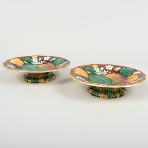 Pair of Wedgwod Majolica Grape and Strawberry Leaf Molded Compotes
