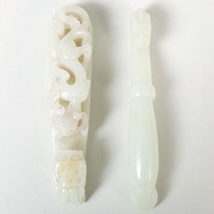 Two Chinese Jade Robe Hooks