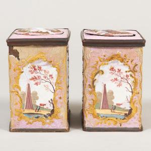 Pair of English Pink Ground Enamel Caddies
