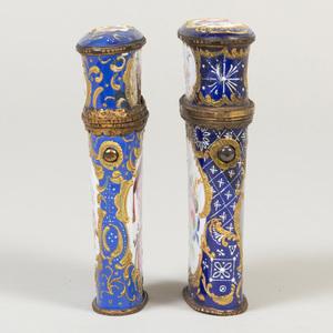 Two English Blue Ground Enamel Etui Cases