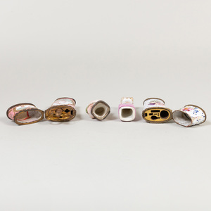 Two English Enamel Etui Cases and a Continental Porcelain Figural Snuff Box