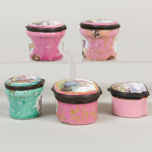 Group of Five English Enamel Snuff Boxes