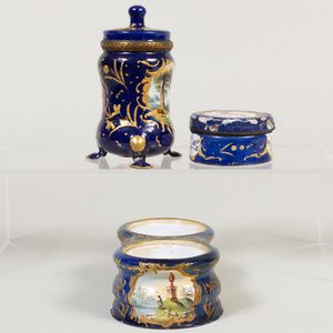 Group of English Cobalt Blue Ground Enamel Desk Articles