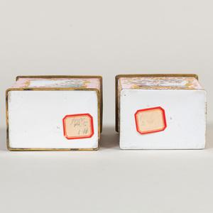 Two English Pink Ground Enamel Boxes