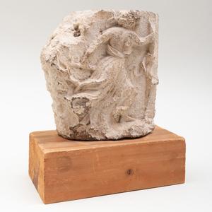 Greek Limestone Figural Relief Fragment