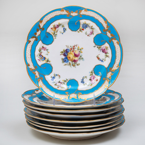 Set of Eight Sevres Outside Decorated Turquoise Ground Plates