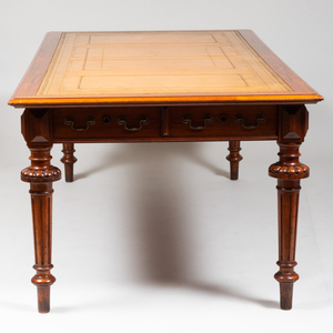 Large Victorian Style Walnut and Leather Double-Sided Desk