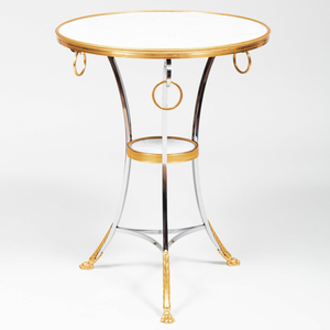 Directoire Style Steel, Gilt-Bronze and Marble Guéridon, of Recent Manufacture