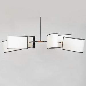 Modern Black Painted Metal and Parchment Six Light Chandelier