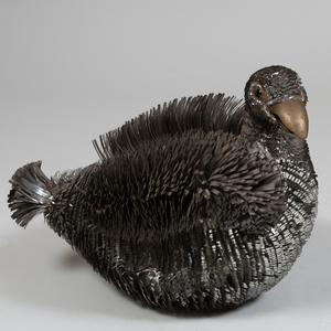 Contemporary Metal Model of a Seated Duck