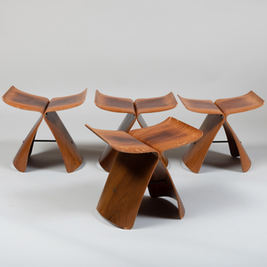 Set of Four Sori Yanagi Brass-Mounted Rosewood and Plywood 'Butterfly' Stools