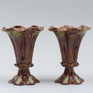 Pair of English Brown Glazed Spill Vases Molded with Leaves