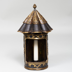 Dutch Brass-Mounted Tin Candle Holder