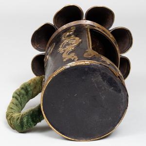Dutch Brass-Mounted Tin Candle Holder