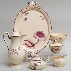 Wedgwood Puce Decorated Creamware Part Tea Service
