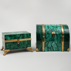 Two Continental Brass-Mounted Malachite Table Boxes