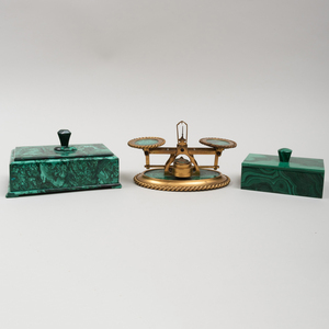 Toulmin & Gale Brass and Malachite Scale and Two Continental Malachite Boxes with Knob Handles