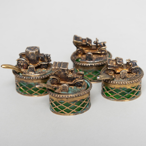 Set of Four Italian Silver Gilt Cellars with Vintage Automobile Covers