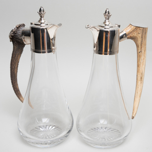 Pair of Horn and Silver Plate Mounted Glass Decanters