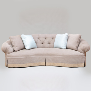 Kidney Shaped Tufted Upholstered Sofa with Pillows, of Recent Manufacture
