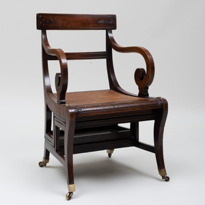 Regency Rosewood, Grain Painted, Leather and Caned Metamorphic Library Armchair