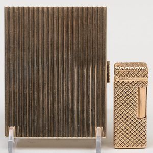 Continental Silver Gilt Cigarette Case and a Gold Dunhill 'Rollagas' Lighter