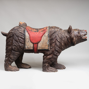 Large Continental Carved and Polychromed Figure of a Bear