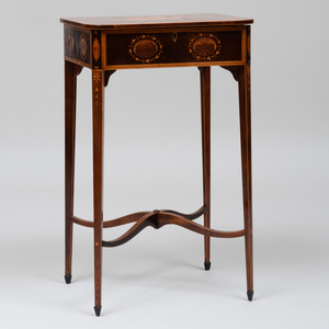 George III Inlaid Harewood Work Table, After a Design by Hepplewhite