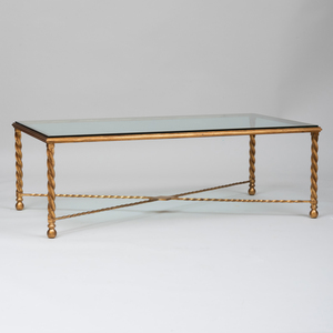 Modern Gilt-Metal and Glass Low Table