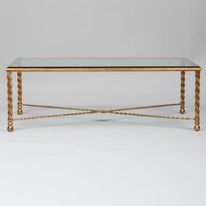 Modern Gilt-Metal and Glass Low Table