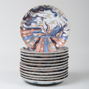 Set of Twelve Japanese Porcelain Imari Lobed Plates