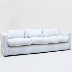 Milo Baughman Three Seat Sofa Upholstered in Carolina Herrera Wool