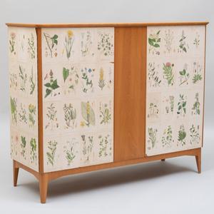 Josef Frank Style Swedish Bleached Wood Botanical Chest